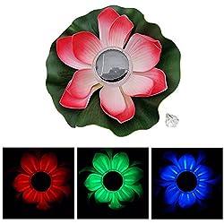 Luz solar LED Lotus Wishing Light Flower Lámpara impermeable para estanque flotante Piscina en el jardín Nightlight Auto encendido / apagado, Rojo