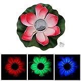 Bloomma Licht von Lotus, Dekoration von Teich schwimmende Lotusblüte Solar LED Farbwechsel Blume Lampe von Nacht Lichter für die Party in Pool Garden House Dekoration von Hochzeit Weihnachten rot