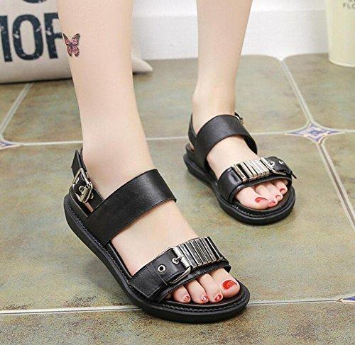 Damen Open Toe Sandalen Sommer Leder Slingback Strand Schuhe Weibliche Mid Heel Flache Metall Gürtelschnalle Sandalen Black