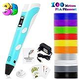 PLUSINNO Stampante Fai da Te Scribbler Penna 3D con Schermo a Cristalli liquidi per Il 3D Scribbler Stampa, Disegno e Doodling +13 PLA filamento (10 Colori Differenti) (Blu)