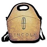 Lincoln logotipo de coche caja de almuerzo bolsa para niños y adultos, Lunch Tote Holder con correa ajustable para hombres mujeres niños niñas, este diseño para portátil, oblicuo Cruz, doble hombro