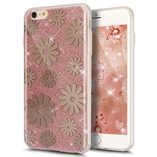 iPhone 6S Plus Hülle,iPhone 6 Plus Hülle,ikasus® iPhone 6 / 6S Plus Silikon Hülle [Kristallklar Durchsichtig],Bling Funkeln Glänzend Glitzer Überzug Muster Stoßdämpfend Transparent TPU Silikon Schutz  Rose Gold Gänseblümchen