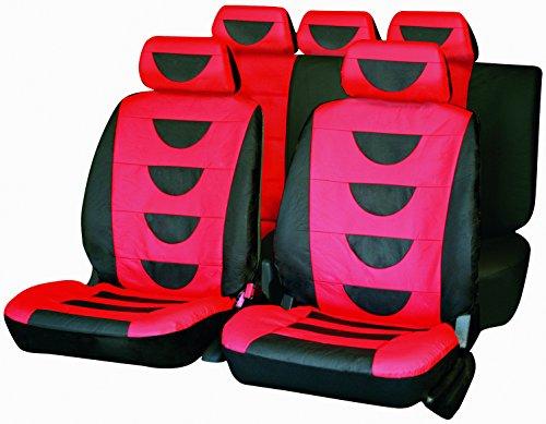Carfactory - Juego de fundas de asiento para coche, Universales, modelo POLIPIEL, color rojo y gris, 9 piezas.