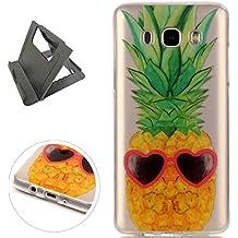 Samsung Galaxy J5 2016/J510F Funda de gel de Silicona (con Trípode Negro Libre) Keyye Cristal a Prueba de Golpes Suave Jalea de Goma TPU Parachoques Protección Shell Cubierta-Ananas dell'oro
