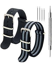 Correa de la NATO Paquete de 2 Premium Ballistic Nylon Bandas de Reloj con Hebilla de Acero Inoxidable Herramienta de Barra de Resorte y 4 Spring Bars 18mm 20mm 22mm (Negro+Bond, 22mm)