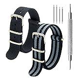 KDM Nato Strap Pack von 2 - 20mm 22mm Premium Ballistic Nylon Uhrenarmbänder mit Edelstahl-Schnalle, Top Frühling Bar Werkzeug und 4 Frühling Riegel (Black+Bond, 20mm)