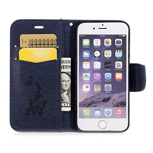 iPhone 6 6S (4.7 inch) Custodia, SATURCASE Bella Farfalla Goffratura Pelle Sintetica Flip Magnetico Portafoglio Supporto [Slot per Schede] Protettivo Caso Case Custodia Cover per Apple iPhone 6 6S (4. Blu Navy-B