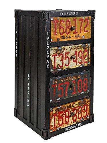 ts-ideen Container estantería cómoda de diseño estilo retro shabby industrial, color negro