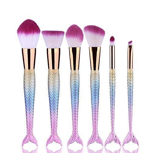 Maquillage Brush Set Professionnel 6 pcs Sirènes Fondation Brosse Cosmétique Brosses Lèvres Brosse Concealer Brosses Beauté Maquillage Outils , Colorful