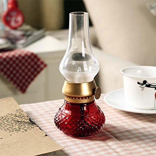 MOXIN Blowing Sprachsteuerung LED Tischlampe-USB wiederaufladbare drahtlose Nachtlicht Kerzenlampe, Kerosin-Öl-Lampe Design mit Dimmer Control Key, für Indoor & Outdoor , red
