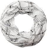 styleBREAKER Loop Schlauchschal mit Karo Muster, seidig leicht, kariert, Tuch, Damen 01016103, Farbe:Weiß-Schwarz