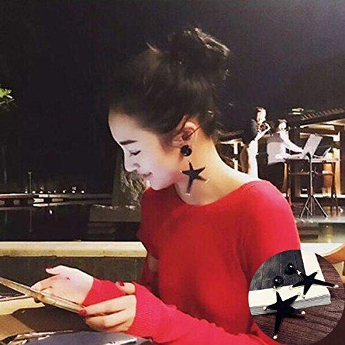 Chwewxi S Silbernadel Korean Temperament einfache Quaste Ohrringe Langen Absatz Wilde Ohrringe Ohrringe Haarkugel Ohrringe weiblich, dunkelgrün 19 Ana-Pose - schwarz