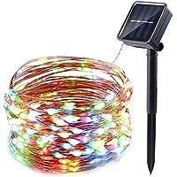 NEXVIN Cadena Solar de Luces de Alambre de Cobre 10M 100 LED,Guirnalda de Luces