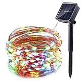 Solar Lichterkette 100er LED, NEXVIN Bunt 10m Kupferdraht Wasserdicht Sternenlicht Außen & Innen für Ostern Pfingsten Zimmerdekoration Weihnachtslichterkette Party Hochzeit 8 Modi