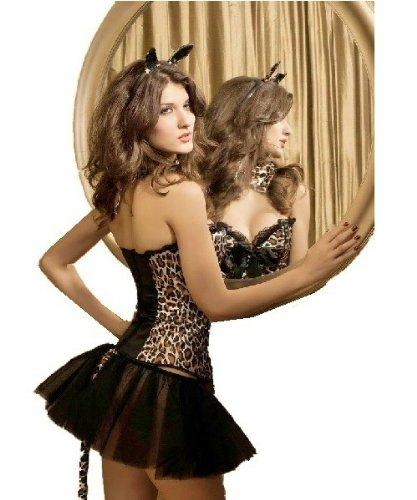 Adulte Imprimé léopard pour femme Corset et jupe Tutu oreilles queue déguisement Taille (Jupe Pour Femme Kostüm)
