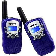 Retevis RT-388 Niños Walkie-talkie con pantalla LCD y Linterna Incorporado, Radio de Juguete Portátil y Aficionado - púrpura