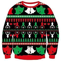 ALISISTER Hässliche Weihnachtspullover 3D Kühle Schneeflocke Glocke Druck Xmas Pulli Jumper Sweatshirt Erwachsene Jugendliche Winter Langarm Outfits Shirts XXL