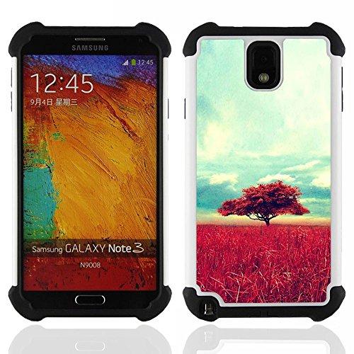 SAMSUNG Galaxy Note 3 III / N9000 / N9005 - 3 in 1 Colorful Heavy Duty Stampato in PC Soft silicone nero della copertura gel della cassa Jacket (Africa Savannah Natura Albero Campo)