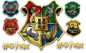 """Precut Edible Harry Potter Hogwarts Crests Large 4.5"""" Icing Cake Topper & 6 Extra's"""