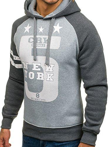BOLF Herren Sweatshirt Pullover mit Kapuze mit Kordel Top AK72 Anthrazit-Grau_3643A