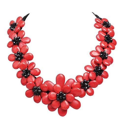 Jane Stone collana Handmade rosso e nero Statement...