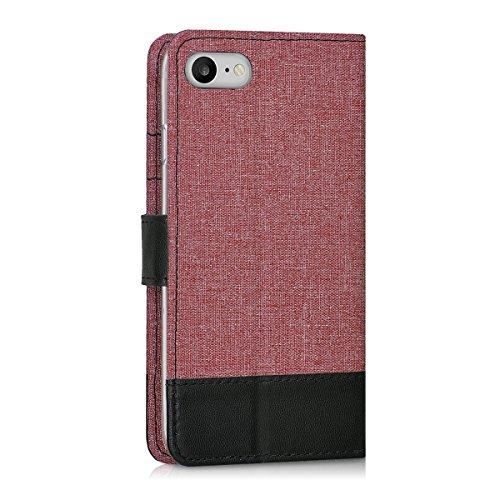 kwmobile Custodia portafoglio per Apple iPhone 7 / 8 - Cover in simil pelle a libro Flip Case con porta carte funzione appoggio rosa antico nero