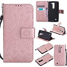 Funda LG G4c/LG G4 mini Wanxida Carcasa de Girasol de Impresión en Relieve Funda de PU Cuero Suave Carcasa Cartera con Cierre Magnético y Ranura Para Tarjetas Carcasa de Estilo Libro Delgado plegable Funda Protectora Caja de Función Soporte Para el LG G4c/LG G4 mini- Oro rosa