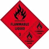 Spectrum industriale 4.706,6cm di liquidi infiammabili classe 3etichette 'vinile autoadesivo segno, multicolore, 200x 300mm