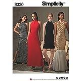 Simplicity Muster 4–8–10–12Misses Kleid mit Rock und Rückseite Variationen Schnittmuster, weiß