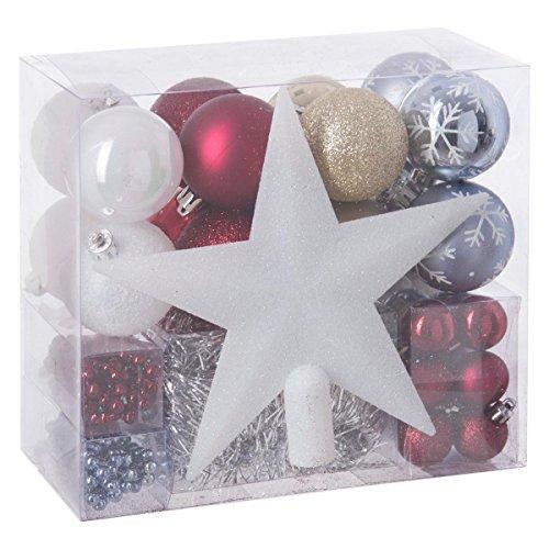 Lot déco Noël - Kit 44 pièces pour décoration sapin : Guirlandes, Boules et Cimier - Thème couleur : Blanc, Rouge, Argent, Bleu clair et Or