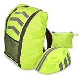 Navaris Regenschutz Set für Helm Rucksack - Helmüberzug Regenhülle Wasserdicht - Schutzhülle Schulranzen Ranzen Helmschutz Fahrradhelm - Neon Gelb