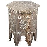 Table d'appoint Orientale marocain Peinte à la Main en Bois de manguier Robuste Style Maison de Campagne Vintage Casa Moro RK38-20-B