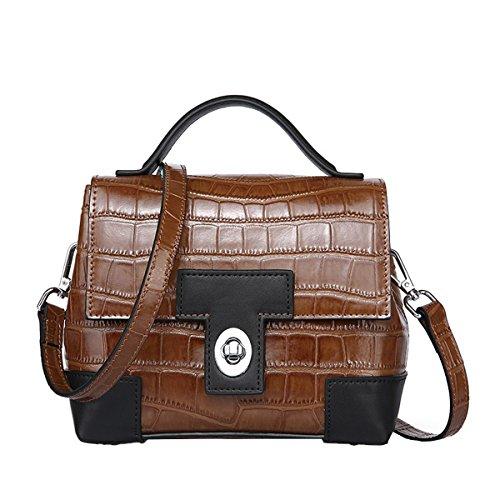 Dissa Q0857 Damen Leder Handtaschen Satchel Tote Taschen Schultertaschen Braun