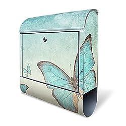 Banjado Design Briefkasten mit Motiv Blaue Schmetterlinge | Stahl pulverbeschichtet mit Zeitungsrolle | Größe 39x47x14cm, 2 Schlüssel, A4 Einwurf, inkl. Montagematerial