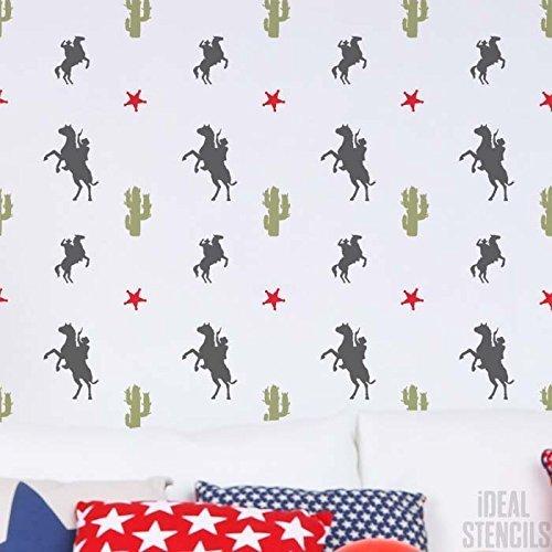 Cowboy, Kaktus U0026 Sternmuster Schablone Wohndeko Cowboy Thema Jungen Schlafzimmer  Wand Schablone Farbe Tapete Muster