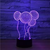 3D Nachtlicht,Fernbedienung Lächelndes Gesicht Ballon 3D Nachtlicht Touch-Schalter 7 Farbwechsel Baby Schlafen Licht Hochzeit Atmosphäre Lampe