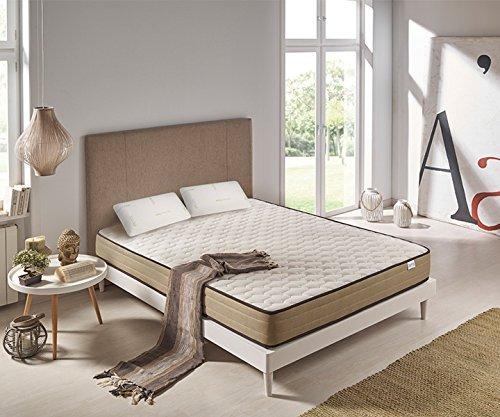 Preisvergleich Produktbild Viscoelastische Matratze Luxury Bamboo Comfort 160x200cm + 2er paket Viskoelastisches Kopfkissen Green Soy 80cm GESCHENK