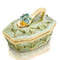 YU FENG Crystal Jewelry Trinket Box Green High Heels Sandals Bejeweled Box for Jewelry Storage,Collection,Decoration,Gift