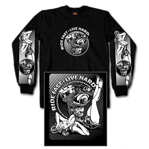 live Hard sexy Bombshell V Twin Brust und Rückenprint Biker Rocker USA (XXL) ()
