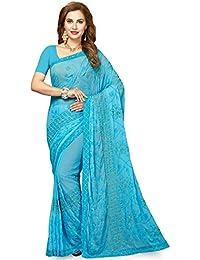 Ishin Women's Chiffon Saree With Blouse Piece (ishin-Tt-23006_Blue)