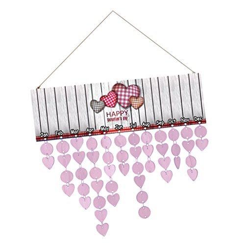 MagiDeal Deko Kalender, Holz Kalender, Geburtstag Jahrestag zum Notizen, Datum Schild, zum Aufhänger - Birthdays / Lovers in Hand / Happy Valentine Day / Family & Friends / Seestern / You are my heart - Valentine's day, 40 x 12 cm