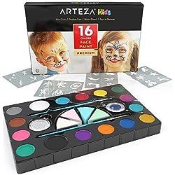 Arteza Kids Pintura facial para niños | Kit de 16 colores de maquillaje para fiestas infantiles | Incluye pinceles, esponjas y polvos de purpurina