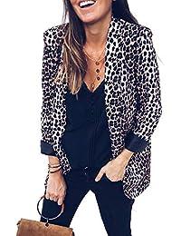 c05bb1ebde0c6 ... Trajes y blazers. Chaqueta De Leopardo De Mujer Abrigo Abierto Frente  Delgado Manga Larga Chaquetas Outwear