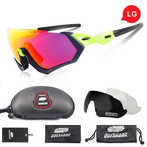 DKMMDWSSD Sonnenbrille mit 3 Linsen und polarisiertem Fahrradrahmen, Sportreitbrille, UV400-Rennradbrille, MTB-Fahrradbrille, schwarz-grün