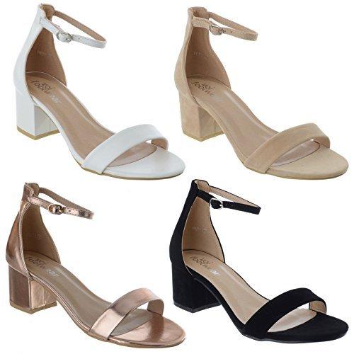 Femmes Bas Mi talon bloc bride cheville à peine là ouvert bout ouvert sandales chaussures pointure