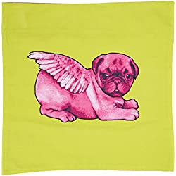 Pugs puede volar color rosa Biddy en, diseño de CARLINO cojín cuadrado, color verde