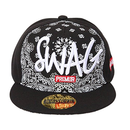 ILU Swag Kid's Cotton Snapback Hiphop Cap Black Freesize  available at amazon for Rs.550
