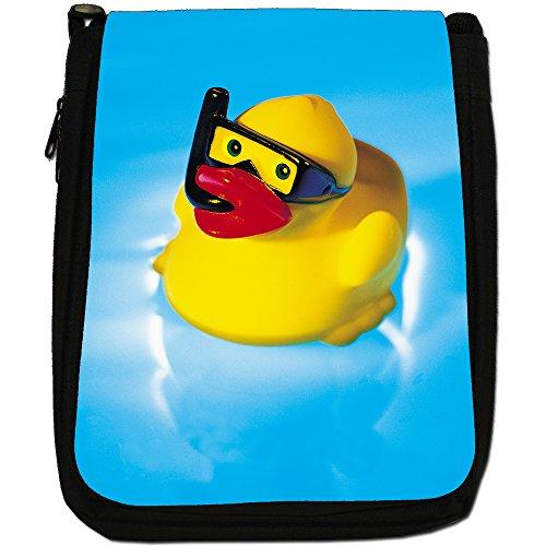 Lifetime-Paperelle di gomma per vasca da bagno Bubble-Borsa a tracolla in tela, colore: nero, taglia: M Nero (Snorkel Wearing Rubber Duck)