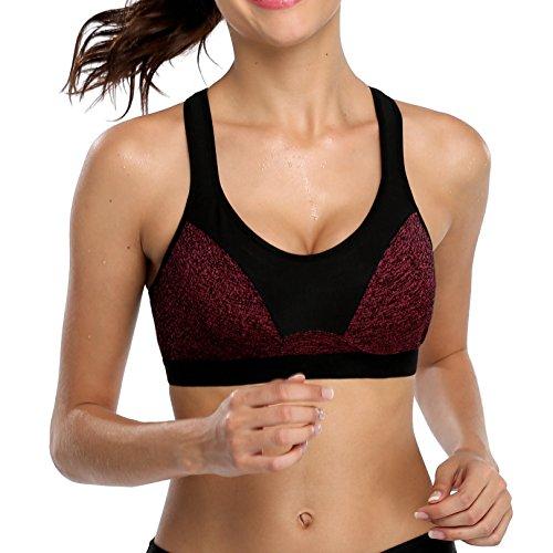 Attraco Damen Mittlerer Halt Sport-BH Active Fitness BH Ohne Bügel Winerot*
