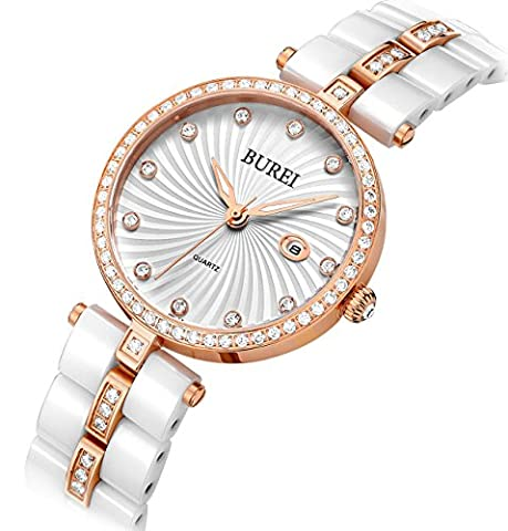 BUREI Women's Elegant Rose Gold Watches Precise Quartz White Ceramic